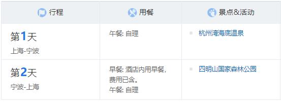 宿四星酒店 上海-浙江宁波2天1晚